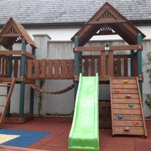 Double tower tree house bridge link rock wall ladder slide