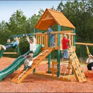 climbing frame tyre swing rock wall gang plank slide plus swings