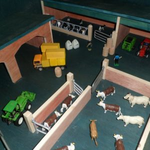 wooden toy farm,cattle shed,paddocks,cattle crush,2 bay shed,