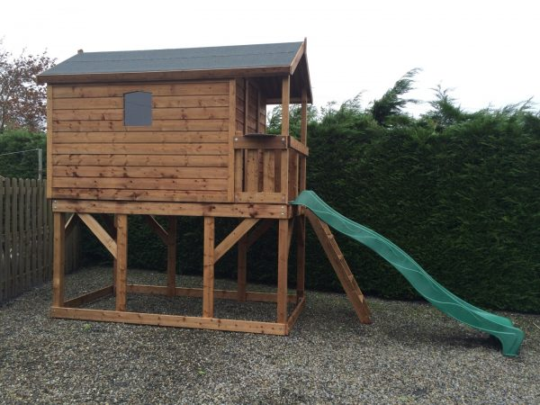 Deluxe tree house play tower slide access ladder balcony