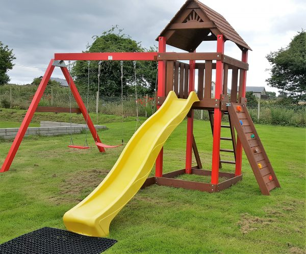 Swings.slide.play house ,access ladder,rock wall, babay seat