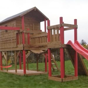 Tree house slide climbing wall swings ladder chain bridge