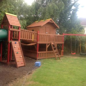 tube slide play deck tree house playhouse climbing rock wall