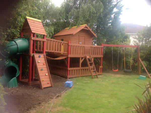 tube slide play deck tree house playhouse climbing rock wall