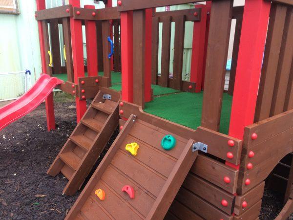 Creche outdoor climbing frame,two towers, crawl through,slide , climbing