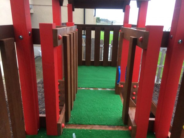 Creche outdoor climbing frame,two towers, crawl through,slide , climbing