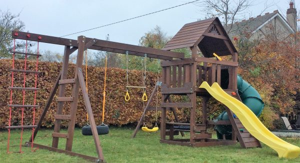 STTSwings featuring spiral tube slide,wave slide and monkey bars.
