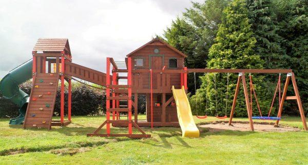 7ft spiral tube slide nest swing tree house bridge link