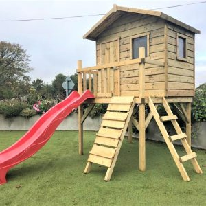 Clubhouse treehouse slide climbing wall access ladder