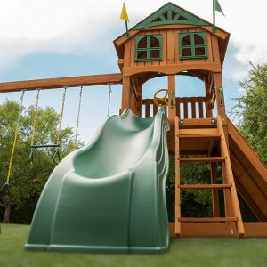 The Outing - playcentre, slide, swings, rock wall, access ladder, play deck, outdoor play sttswings Ireland