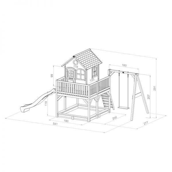 Liam Playhouse (with Single Swing) Dimensions