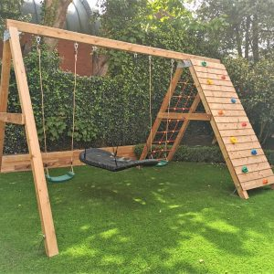Classic swing with up and over rock wall with climbing net STTSwings